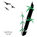 Hand drawn illustration of a bamboo and bird Stock Photos