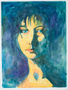 Hand drawn illustration of beautiful serene woman drrawn on dark blue background Stock Images