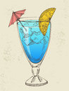 Hand drawn illustration of blue cocktail with ice Stock Photos