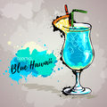 Hand drawn illustration of cocktail blue hawaii.