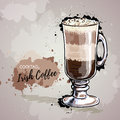 Hand drawn illustration of cocktail irish coffee. Royalty Free Stock Photo