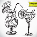 Hand drawn illustration of cocktail vector collection in sketch Royalty Free Stock Image