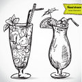 Hand drawn illustration of cocktail vector collection in sketch Stock Photos