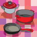 Hand drawn illustration collection kitchen pans over tablecloth pattern squares Royalty Free Stock Image