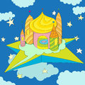 Hand drawn illustration of a fairy tale castle floating on a star island in a cloudy blue night sky Stock Photos