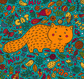 Hand-drawn illustration. A fat red cat surrounded by flowers, fish, toys and other feline staff. Doodle style. On a