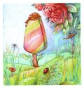 Hand-drawn Illustration with a green forest glade on which a colorful rainbow ice cream grows on a stick, with red roses and a red