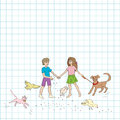 Hand drawn illustration of a group of kids and domestic animals doodles over a math paper Stock Images