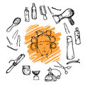 Hand drawn illustration -  Hairdressing tools (scissors, combs, styling) and woman with hair rollers Royalty Free Stock Photo