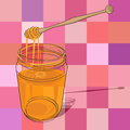 Hand drawn illustration honey jar over kitchen tablecloth pattern squares Stock Photography