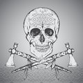 Hand drawn illustration of human skull, two tomahawks and ethnic Royalty Free Stock Photo