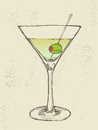 Hand drawn illustration of iced cocktail with olive Stock Photography