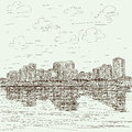 Hand drawn illustration manila bay philippines cityscape Royalty Free Stock Image