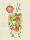 Hand drawn illustration of mojito with strawberry Stock Photos