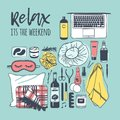 Hand drawn illustration relax set. Creative ink art work. Actual vector drawing weekend tools