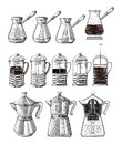 Hand drawn illustration set of coffee preparation. Pour over brewer coffee kettle french press moka pot and cezve.