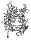 Hand drawn illustration skull in flowers and feathers for coloring book. Ethnic style.