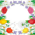 Hand drawn illustration of a spring card with a frame made of flowers drawing over a white background Stock Photography