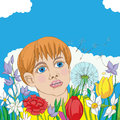 Hand drawn illustration of a spring outdoor scene kid among flowers following a dandelion seed Royalty Free Stock Photos
