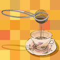 Hand drawn illustration tea strainer cup over tablecloth pattern squares Stock Image
