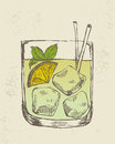 Hand drawn illustration of tropical cocktail iced Stock Images