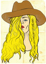 Hand drawn illustration young woman big cowboy hat vector description editable layers Stock Photography