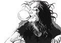 Hand drawn illustration young woman blowing bubble chewing gum vector description editable layers Stock Photography
