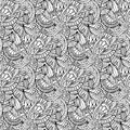 Hand-drawn illustrations. Black and white abstraction. Seamless pattern.