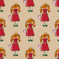 Hand-drawn illustrations. Card with a princess. Red-haired girl with a book. Why should I study? I love fashion! Seamless pattern. Royalty Free Stock Photo