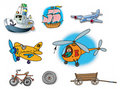 Hand drawn illustrations about different vehicles Royalty Free Stock Photos