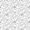 Hand drawn illustrations the dream of a dog is a bone seamless pattern Stock Image