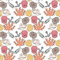 Hand-drawn illustrations. Image with seashells, coral and marine inhabitants on the white background. Seamless pattern. Royalty Free Stock Photo