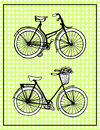 Hand-drawn illustrations. Vintage bicycles. Vintage polka dot card. Royalty Free Stock Photo