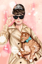 Hand drawn image - Girl wearing elegant outfit, black sunglasses and holding a cat