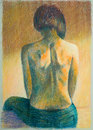 Hand drawn image of woman s back pencil illustration with a straight pose in beautiful warm lighting Stock Photos