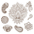 Hand drawn indian ornaments collection. Vector illustration with doodle flowers and paisley.  Creative art for henna Royalty Free Stock Photo