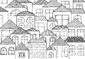 Hand drawn with ink background with a lot of houses, homes with many windows.