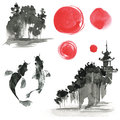 Hand drawn ink sumi-e elements: landskype, sun, temple, fich. Ja Royalty Free Stock Photo