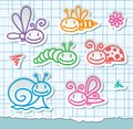 Hand drawn insects Royalty Free Stock Photography