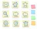 Hand drawn internet and web icons set on post it notes five colorful version Royalty Free Stock Photo