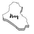Hand drawn of Iraq map, illustration