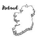Hand drawn of Ireland map, illustration