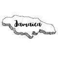 Hand drawn of Jamaica map, illustration