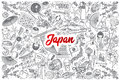 Hand drawn Japan doodle set with lettering