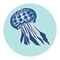 Hand drawn jellyfish. Marine life, design element for summer vacation illustration Royalty Free Stock Photo