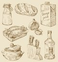 Hand drawn kitchen set Royalty Free Stock Images