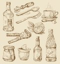 Hand drawn kitchen set Stock Images