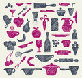 Hand drawn kitchen supplies Royalty Free Stock Photos