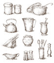Hand drawn kitchen utensils illustration of Royalty Free Stock Photo
