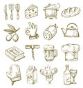 Hand drawn kitchen vector icons set on white Stock Photos